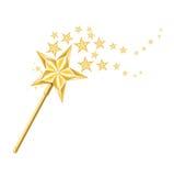 Bacchetta dorata magica con le tracce di stelle su bianco Immagini Stock Libere da Diritti