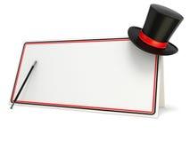 Bacchetta e cappello magici sul bordo in bianco con il confine nero e rosso 3d rendono Fotografie Stock Libere da Diritti
