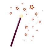 Bacchetta magica con le piccole stelle, mago di attributo illustrazione di stock