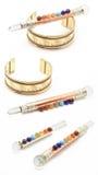 Bacchette di Chakra e braccialetto del OM Fotografia Stock