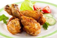 Bacchette di pollo arrostite Fotografia Stock