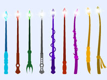 Bacchette magiche Cristallo magico ed oggetti magici Strumento dello stregone Vettore Immagine Stock