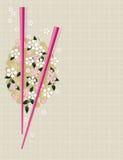 Bacchette sul reticolo asiatico tradizionale Immagini Stock