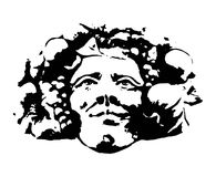 Bacchus (Dionysus). Clipart e and artistic rappresentation of the Bacchus head, winw god Stock Photography