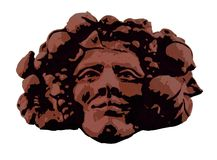 Bacchus (Dionysus). Clipart e and artistic draw of the Bacchus head, wine god, red color vector illustration