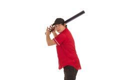 Baceball spelare med ett slagträ Arkivbild