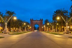 Bacelona Arc de Triomf at night in the city of Barcelona in Cata. Lonia, Spain. The arch is built in reddish brickwork in the Neo-Mudejar style Stock Image