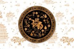 Bacground cinese felice 2019 del nuovo anno con il maiale cinese di traduzione degli elementi del handdrown illustrazione di stock