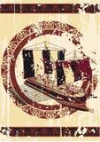 Bacground in de stijl van Griekenland met schip Royalty-vrije Stock Afbeelding
