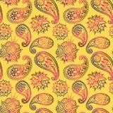 Bacground floreale del fiore di Mehendy del modello di progettazione dei trafori dell'illustrazione senza cuciture dorata di vett Fotografia Stock