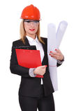 bacground inżyniera odosobniona biała kobieta Fotografia Stock
