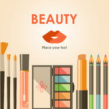 Bacground plano de los cosméticos del vector Productos de la moda de la belleza Decoros stock de ilustración