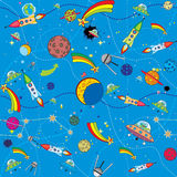 Bacground similar del espacio con los cohetes y los planetas stock de ilustración