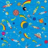 Bacground similar do espaço com foguetes e planetas Foto de Stock