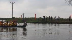 Bach Hao pagoda festival row boats stock footage