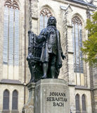 Bach monument stands since 1908 in front of the St Thomas Kirche. Church where Johann Sebastian Bach is buried in Leipzig Germany Royalty Free Stock Image