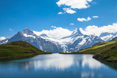 Bachalpsee and the snow peaks of Jungfrau region Stock Photography