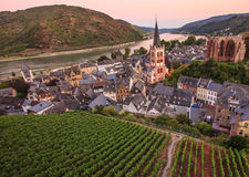 Bacharach, Rhine valley, Germany. City Panorama view with Rhine river at twilight royalty free stock photography