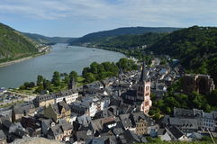 Bacharach with river rhine in Germany Stock Photography