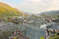 Bacharach town above the rhine Royalty Free Stock Image