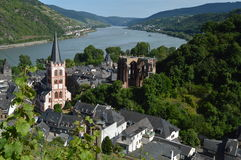 Bacharach and Werner chapel with river rhine in Germany Stock Photos