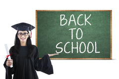 Bachelor and back to school text Stock Photo