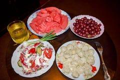 The bachelor dinner. Easy the bachelor dinner. Dumplings Stock Photo