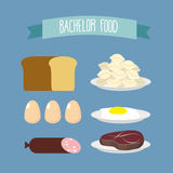 Bachelor food. Set of products for food unmarried men: meat, egg Royalty Free Stock Photos