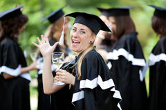 Bachelor graduates celebrate Royalty Free Stock Images
