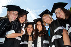 Bachelor graduates celebrate Stock Photos