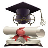 Bachelor hat with glasses and diploma Stock Images