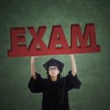 Bachelor holds an exam text Stock Photos
