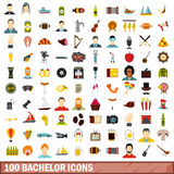 100 bachelor icons set, flat style. 100 bachelor icons set in flat style for any design vector illustration Royalty Free Stock Photo