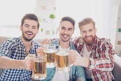 Bachelor men`s life. Cheers! Close up photo of three happy hand stock photos