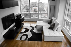A Bachelor Pad - A Modern Living Room. A Modern Living Room in a New York City condominium. Image of a modern white leather sofa and carpet and the TV set