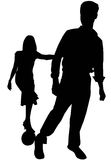 Bachelor Party!. Woman holding mans arm standing on ball and chain. silhouette of woman holding on to man. Engagement Royalty Free Stock Photo