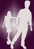 Bachelor Party. Woman holds onto mans arm and stands on ball hooked to chain around his ankle stock illustration