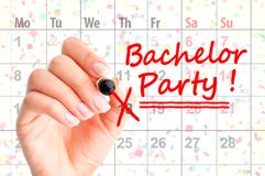 Free Bachelor Party Noted On Calendar Stock Photo - 100757460