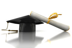 Bachelor's hat and diploma Stock Image