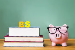 Bachelor of Science degree theme with textbooks and piggy bank Stock Image