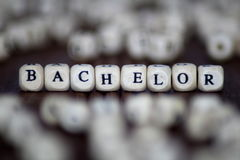 Bachelor Word In Wooden Cube royalty free stock image