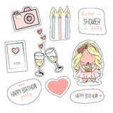 Bachelorette or birthday party stickers. Bridal shower. print on t-shirt. wedding. 2 glasses of champagne, candles, hearts, camera Royalty Free Stock Photos