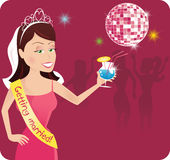 Bachelorette at disco party. A young bachelorette at a disco party. E.P.S. 10 vector file included with image, on white royalty free illustration