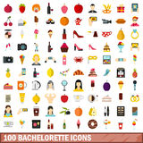 100 bachelorette icons set, flat style Royalty Free Stock Photos