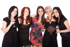 Bachelorette party. Group of well dressed friends at a Bachelorette party Stock Photography