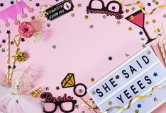 Bachelorette party background. She said yes concept. Flat lay