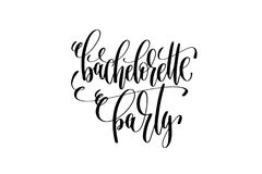 Bachelorette party hand lettering event invitation inscription. Black and white calligraphy vector illustration Royalty Free Stock Photography