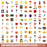 100 bachelorette party icons set, flat style Stock Image