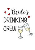 Bachelorette party template. bridal shower. print on t-shirt. Brides drinking crew. red heart. banner or sticker. wedding. 2 glasses of champagne Stock Images
