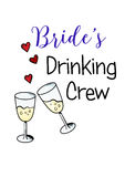 Bachelorette party template. bridal shower. print on t-shirt. Brides drinking crew. red heart. banner or sticker. wedding. 2 glasses of champagne Royalty Free Stock Image